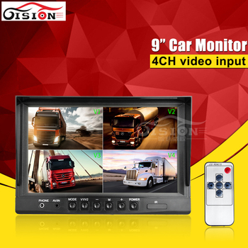 9Inch 4 Quad Color Car Monitor For Car Parking Security CCTV Reverse View Monitoring For Camera /Dvr With 4CH Video Input