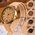 1 шт. Случайный Цвет Дерева Моделирование Кожаный Ремешок мужчины женщины часы часы унисекс подарочные Кварцевые Наручные Часы Relojes Masculino H5