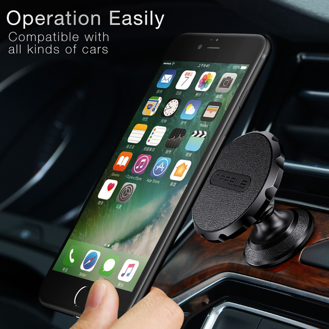 Cafele Car Phone Holder Magnet Leather Surface For Iphone Samsung Xiaomi Metal Body