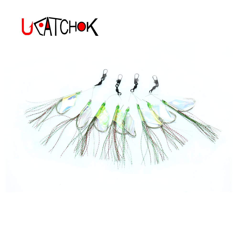 2pair pack 10 0 hook rig laser wing Peacock Ling nylon rope double assist weighted high carbon boat jigging rock bottom hook rig in Fishhooks from Sports Entertainment