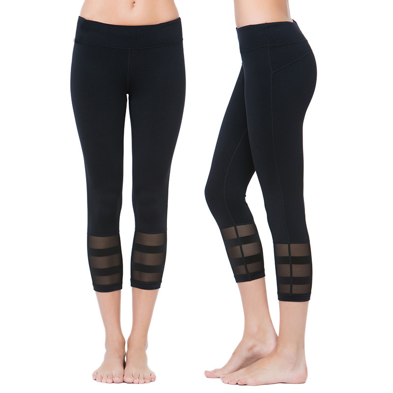 Vertvie Mesh Elastic Fitness Tights Women Three Quarter