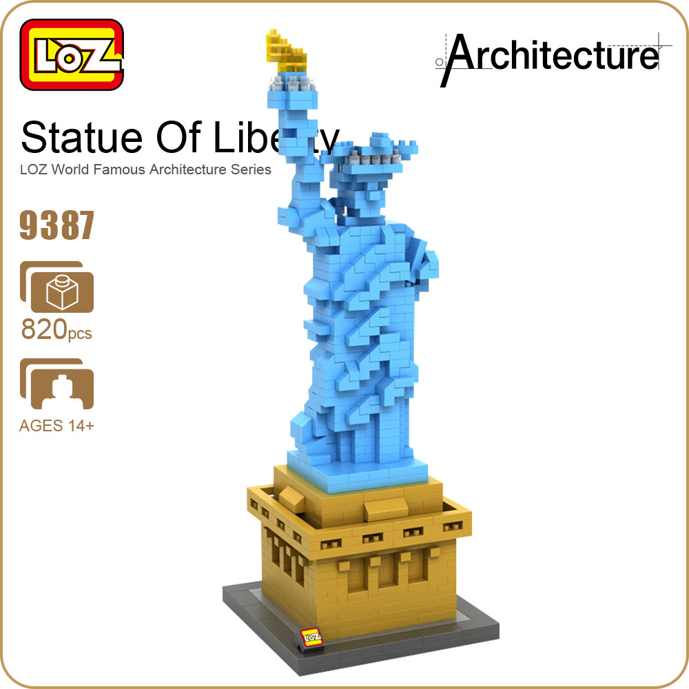 LOZ Statue Of Liberty Diamond Blocks Architecture Statue Model Building Kits City Street Creator Forge World New York Toys 9387 mr froger loz schloss neuschwanstein new swan stone castle snow white castle diamond block minifigures building blocks creator