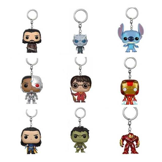 Novo homem de ferro Figura de Brinquedo chaveiro Harley Quinn rei do Game of Thrones Jon Snow Vingadores noite Deadpool Spiderman