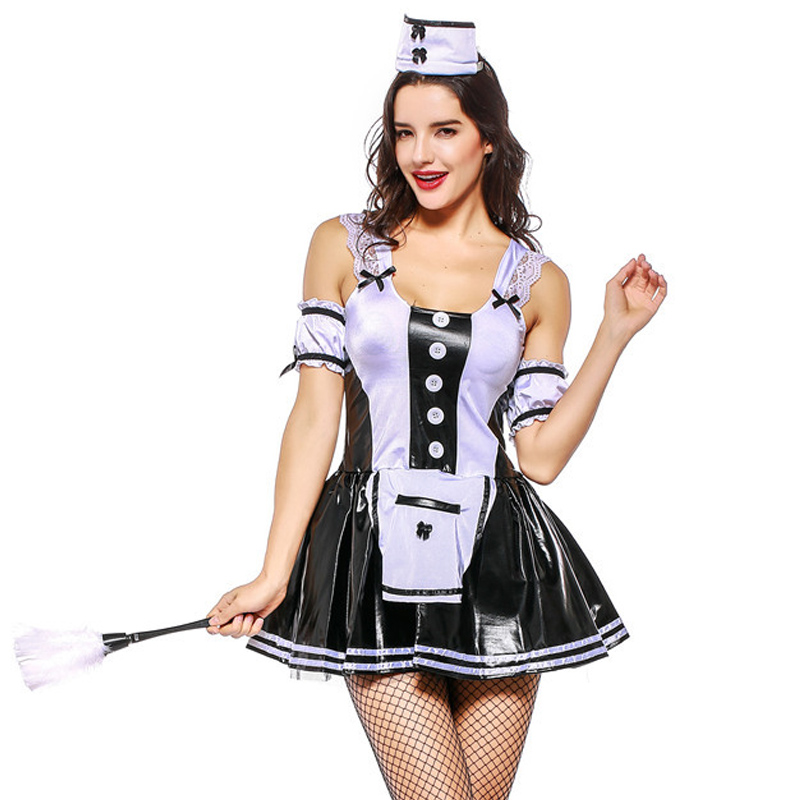 Sexy French Wench Lolita Mini Dress Women Hen Party Nightclub DS Maid Cosplay Costume