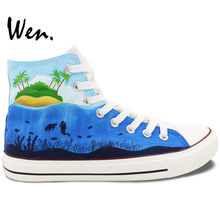 Wen Hand Painted Canvas Shoes Design Custom Seawolrd Creatures High Top Flats Lace Up Sneakers for Men Women's Gifts