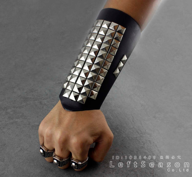 Black Leather Studded Bracelet Wristband Wrist Cuff Band Steam Punk