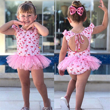 Lovely Girls Flamingo Swimwear 2018 Kids Baby Girls One Piece Swimsuit Bathing Dress Beachwear Bathing Suits Children Swim Wear