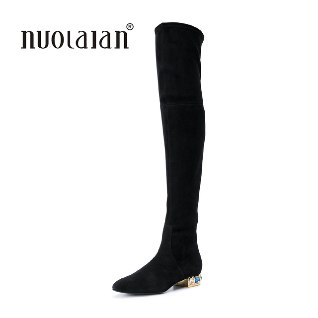 c9b368b1b12 2018 Thigh High Boots Female Winter Boots Women Over the Knee Boots Flat  Stretch Sexy Fashion Shoes black blue