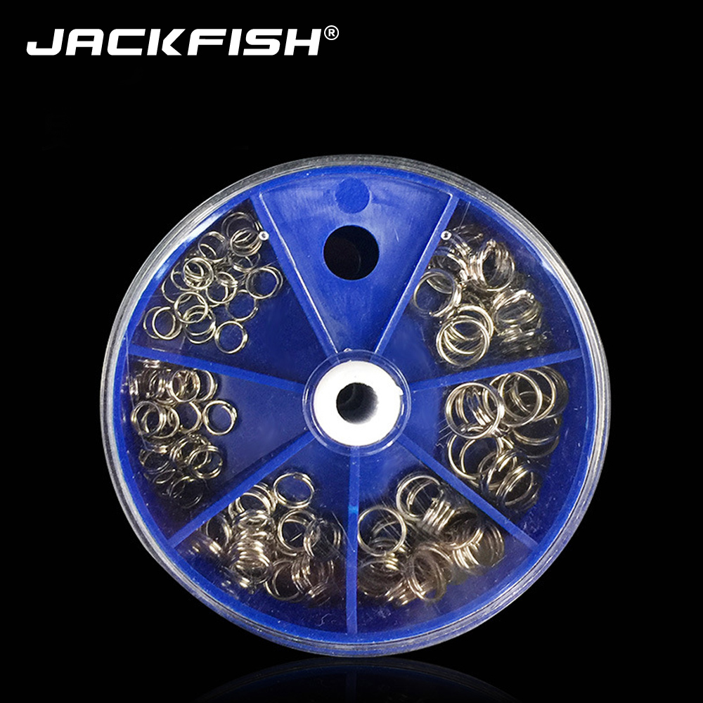 JACKFISH 115pcs/lot Stainless Steel Fishing Split Rings For Crank Hard Bait 6 Models Double Loop Split Fishing Accessories
