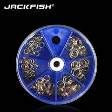JACKFISH 115 шт./лот рыболовные раздельные кольца из нержавеющей стали для кривошипа, жесткая приманка, 6 моделей, двойная петля, раздельные рыбол...