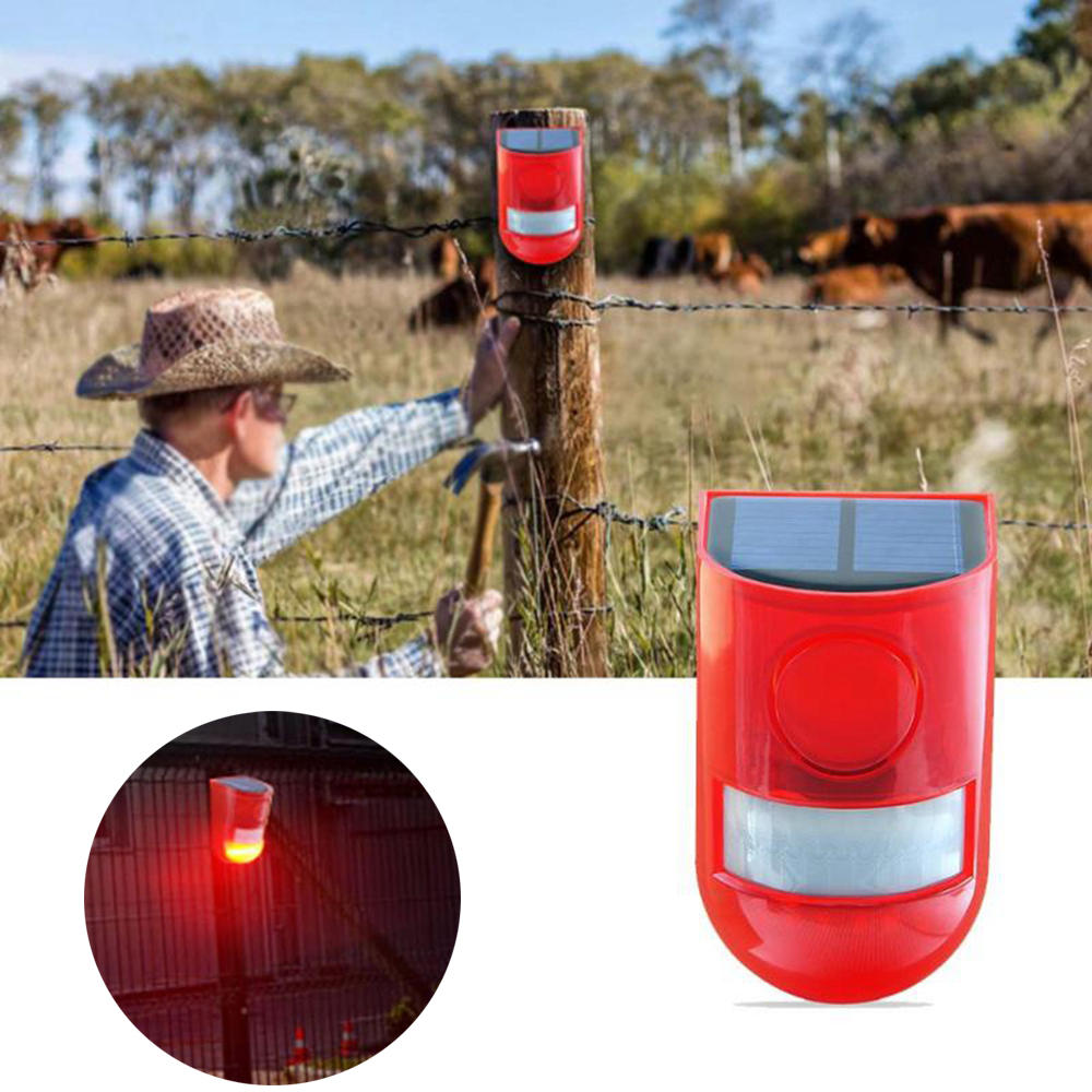 LED Solar Alarm Red Light Motion Sensor Warning Sound Outdoor Waterproof Lamp For Garden Factory Yard Warehouses