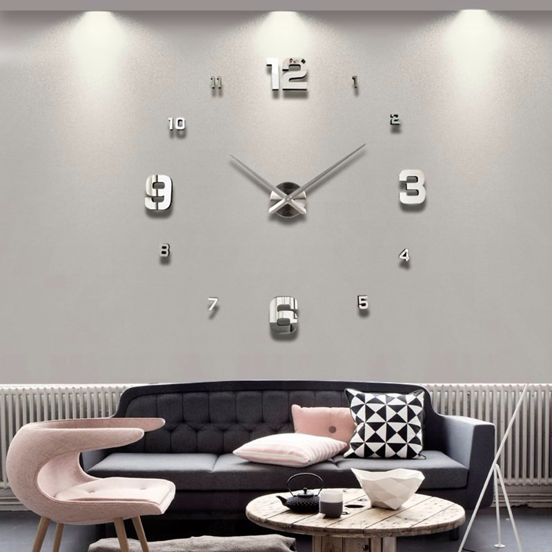 Muhsein 2017 Large Decorative Wall Watch Unique Gift Full Black Wall Clock  Home Decoration Big Mirror