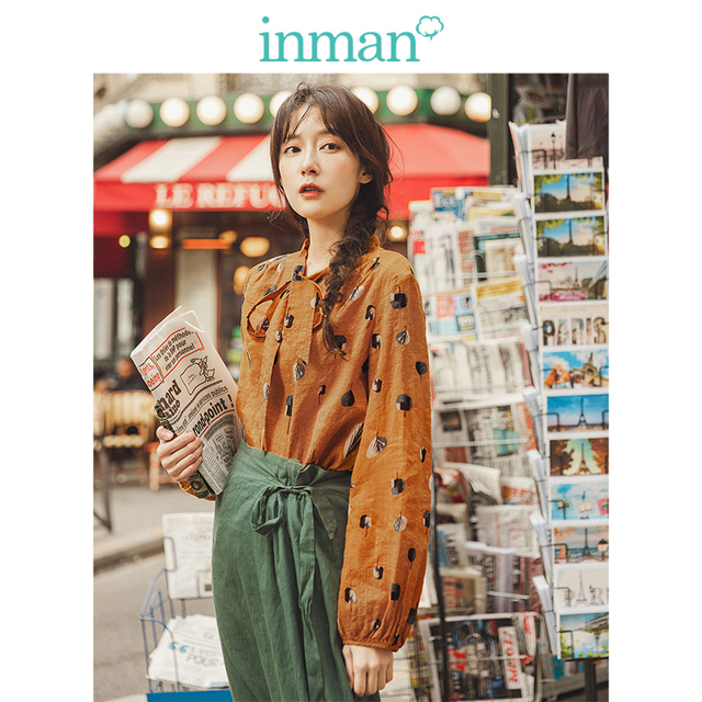 INMAN Spring Autumn Viscose Cotton Soft Print Pretty Lacing Literary Elegant Verstand Women Blouse
