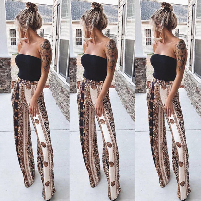 7778712dc4c 2018 new summer fashion Women boho Loose Stretch High Waist Wide Leg Long  Pants Loose Trousers casual floral printed loose pants
