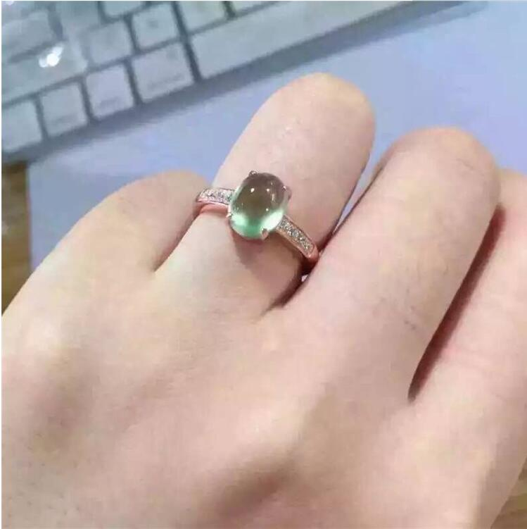 Natual Prehnite Ring Free shipping Natural real Prehnite Ring 925 sterling silver Gem Size 6*8mm for Woman Or Man marq e redmond revelations of a real man or woman