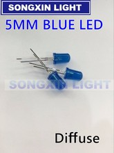 2000 PCS/Lot 5MM Blue LED Diode Round Diffused Blue Color Light Lamp F5 DIP Highlight New Wholesale Electronic