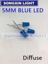 2000 pçs/lote 5mm led azul diodo redondo difusa cor azul luz lâmpada f5 dip destaque novo atacado eletrônico
