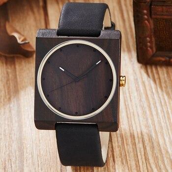 패션 자연 나무 시계 남자 쿼츠 시계 우아한 광장 나무 손목 시계 아날로그 라이트 숙녀 시계 선물 relogio masculino