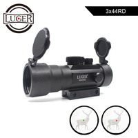 LUGER 3X44 Red Green Dot Sight Scope Tactical Optics Riflescope Fit 11/22mm Dovetail Rail For Hunting Rifle Air Gun Scopes