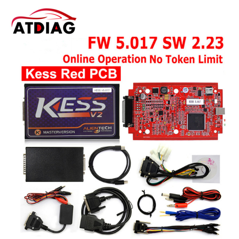 Online Red EU Version KESS V5.017 V2.23 No Tokens Limit Kess Master HW 5.017 Kess V2 OBD2 Manager Tuning Kit 5017 ECU Programmer unlimited tokens ktag k tag v7 020 kess real eu v2 v5 017 sw v2 23 master ecu chip tuning tool kess 5 017 red pcb online