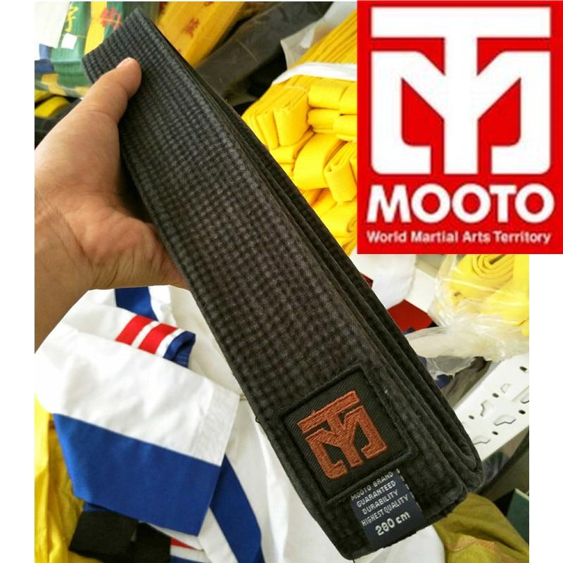 Hotsale MOOTO Taekwondo black belt 300cm320cm karate Judo suite belt 9 level 100%cotton washed out TKD belt 5cm width Coach belt hotsale 100