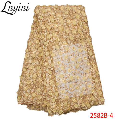 New Arrival Handmade Beads Lace Fabrics 2019 Luxury African French Tulle Lace 3D Flowers Fabric for