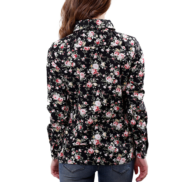 2016 New Women Cotton Blouse Long-sleeve Printed Flowers Shirts Casual Slim Floral Blusas Femininas Camisas Roupas