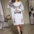 [XITAO] 2017 new Korea style female short sleeve Tee bottoming long loose printing cartoon split hole hollow out T-shirt ATT014