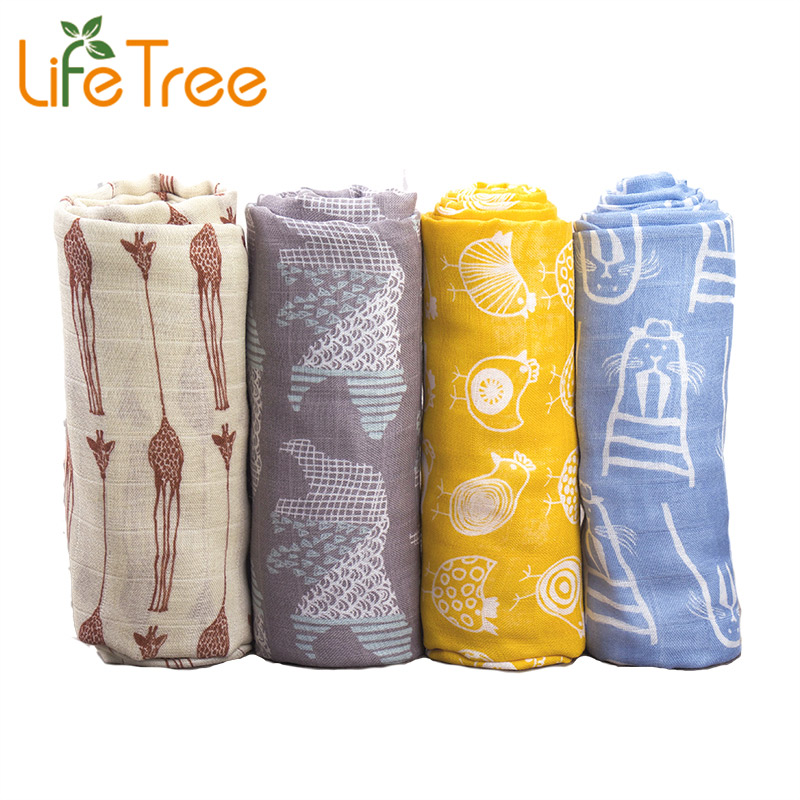 Muslin Baby Blanket For Summer Baby <font><b>Swaddle</b></font> 70% Bamboo Super Soft Baby Warp For Newborn Lovely Blanket Bath Towel Bed Sheet