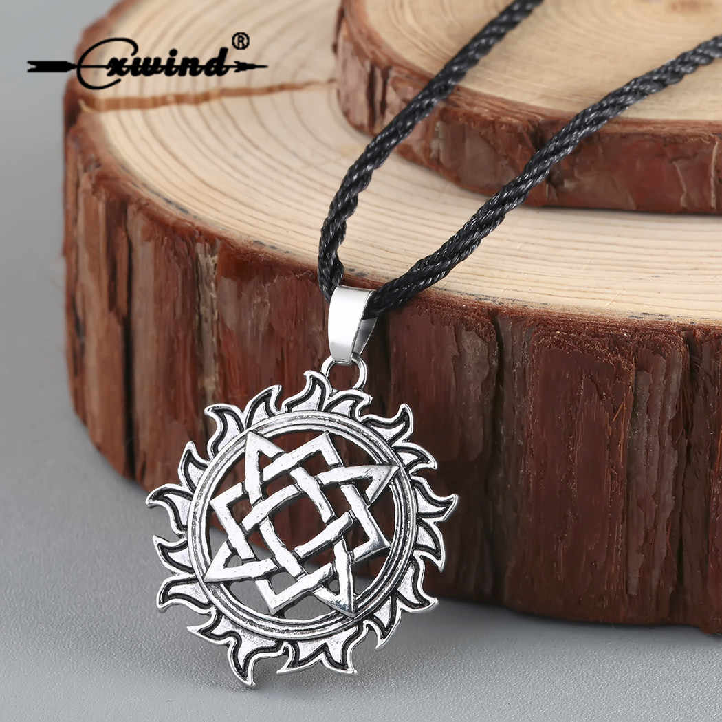 Cxwind Alatyr Star Slavic Jewelry Sun Symbol Amulet Pendant Necklace Norse Occult Pendants Germanic Pagan Men Charm Necklaces