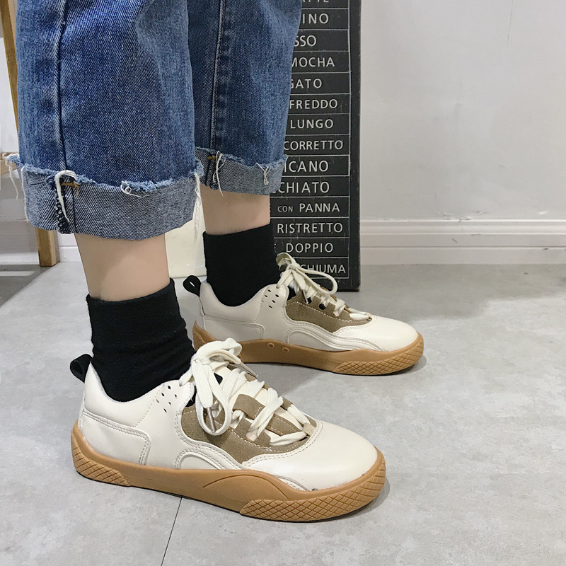 2019 Women Sneakers Leather Hook Loop All Match Female Casual Shoes Concise Style Lady White Shoes Students New Fashion 35-39 20