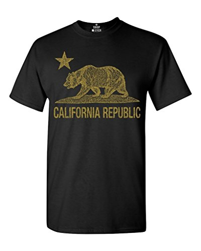 California Republic Gold Bear T-shirt Flag Shirts Print T Shirt Harajuku Short Sleeve Men Top Teenage Natural Cotton Printed