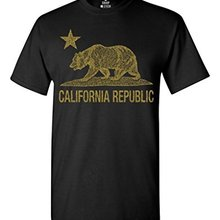 California Republic Gold Bear T-shirt Flag Shirts Print T Shirt Harajuku Short Sleeve Men Top Teenage Natural Cotton Printed