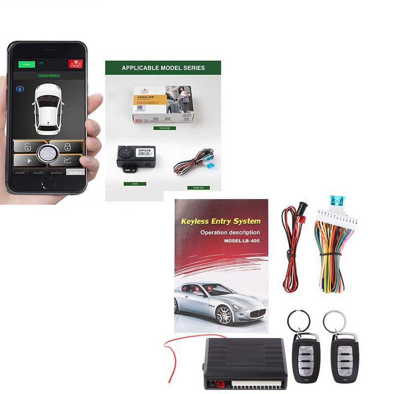 Universal 12V Remote Central Door Locking Vehicle  LED Keyless Entry Car Alarm System +  Smartphone Remote Smart Trunk Opening
