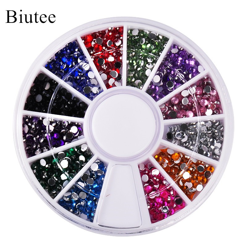 Biutee 12 Colors Nail Rhinestones 2mm Acrylic Nail Art Rhinestones Decoration For UV Gel Phone Laptop DIY Nail Tools 2000 pcs 12 colors nail shining rhinestones glitter acrylic nail art decoration 2mm for uv gel iphone and laptop diy nail tools