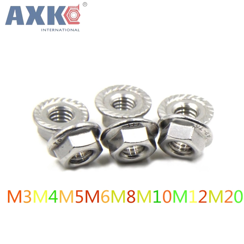50pcs/lot Metric thread M3 M4 M5 M6 M8 M10 M12 M20 304 Stainless Steel Hex Flange Nuts 4pcs set hand tap hex shank hss screw spiral point thread metric plug drill bits m3 m4 m5 m6 hand tools