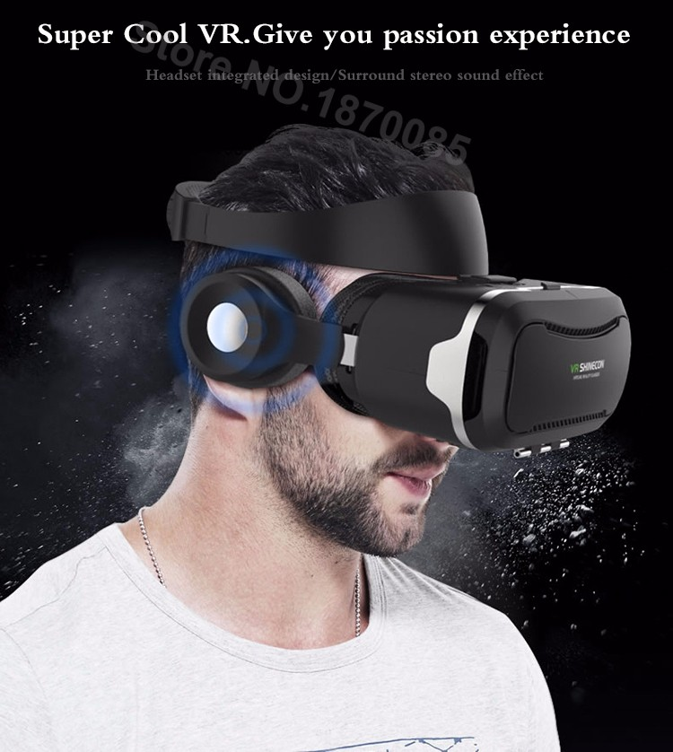 Newest VR Shinecon 4.0 Google cardboard VR BOX with Headphone VR Virtual Reality 3D Glasses PK Z4 For 4.5-6.0 inch Smartphone (3)