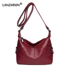 Lanzhixin brand shoulder crossbody bags for women washed leather bags 2017 luxury handbags women bags female solid black 1015S