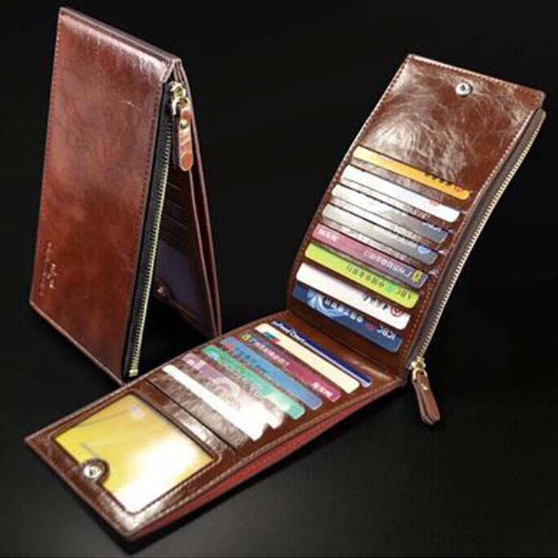 Laamei Ultra Thin Long Wallet Men's Credit Card Holder Portable Purse Zipper Oil Wax Leather Men Wallet ultra thin colorfulcascading pull out card holder wallet