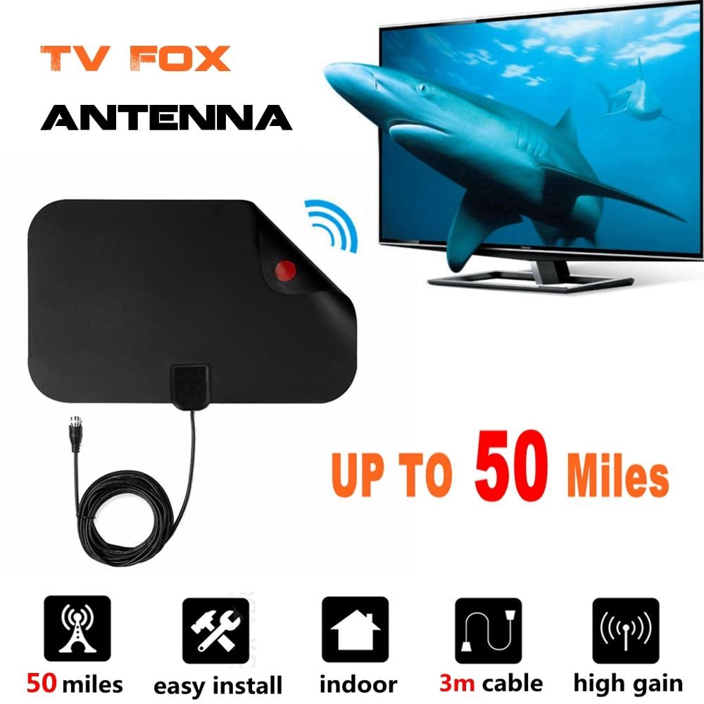 50 Miles Mini-digital-innen TV Fuchs Antenne Receiver Analog TVFox Antena verstärker HDTV Antenne Mini DVB-T DVB-T2 UHF VHF ATSC PAL DTV
