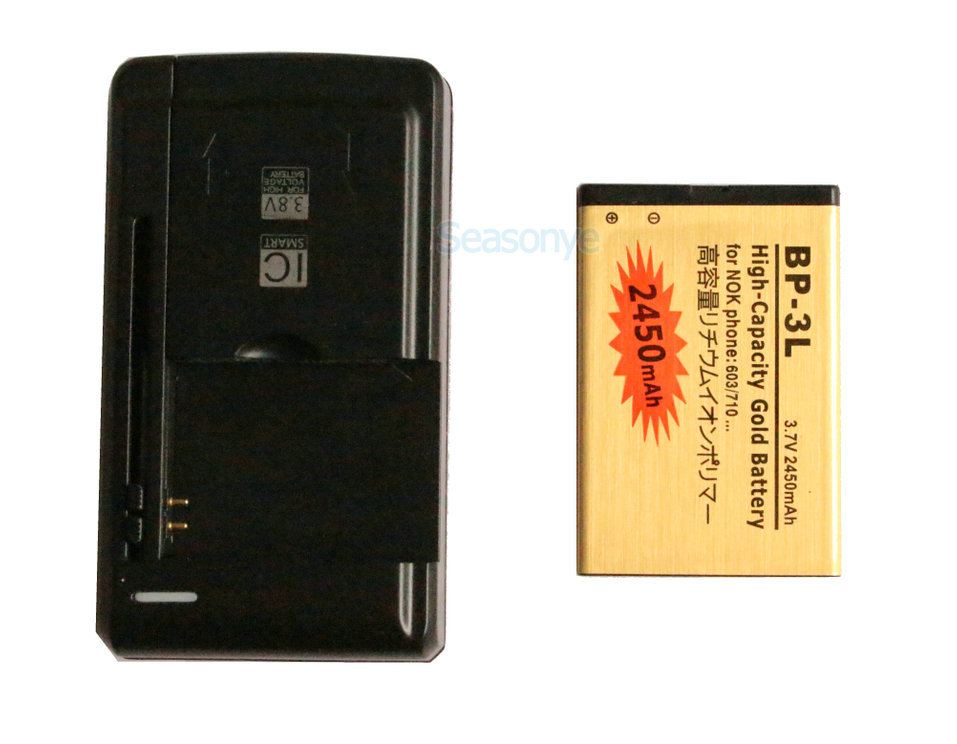 US $7 35 |Seasonye 2450mAh BP 3L Gold Replacement Battery + Universal  Charger For Nokia 603 701 ASHA 303 Lumia 710 610 505 510 610C 3030-in  Mobile