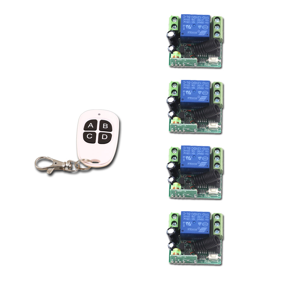 DC12V 1CH RF Switch Wireless Remote Control Switch System 315/433MHZ Garage Door Remote Control 1 Transmitter with 4 Receiver