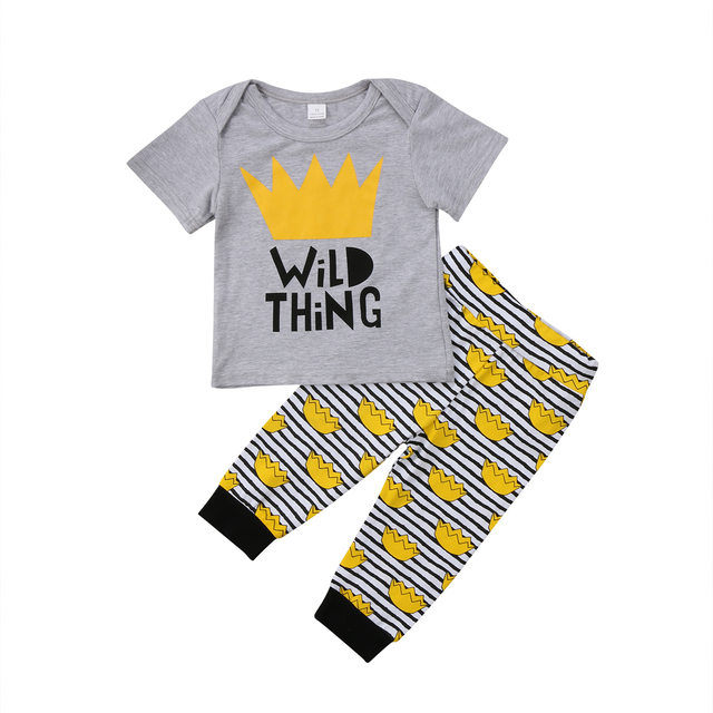 17fc5ede6d81 Podcoco Newborn Baby Boy Girl Clothes WILD Gray Top T shirt +Striped ...