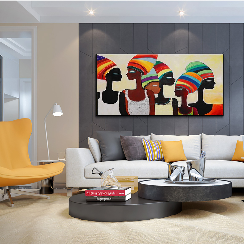 Modern Abstract canvas  decorative Africa oil painting free shipping to USA interior design