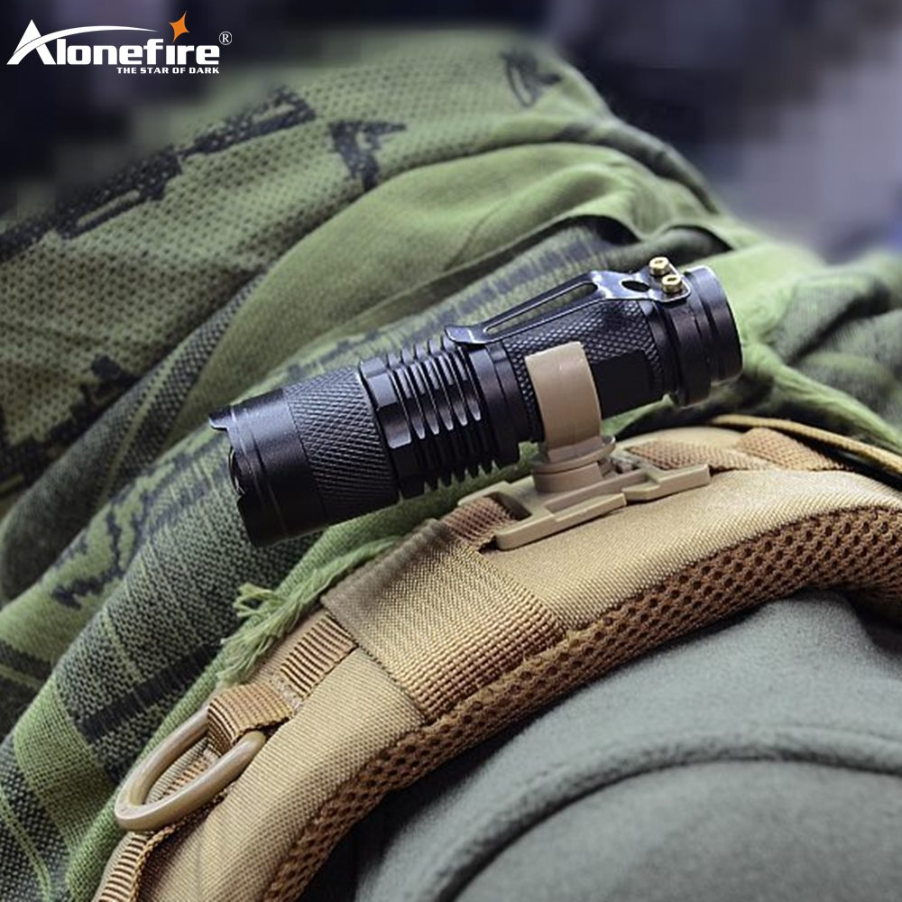 AloneFire LC-10 Mini Flashlight Swivel U Ring Clip Tactical Backpack Attach Strap Backpack Hanger Mount