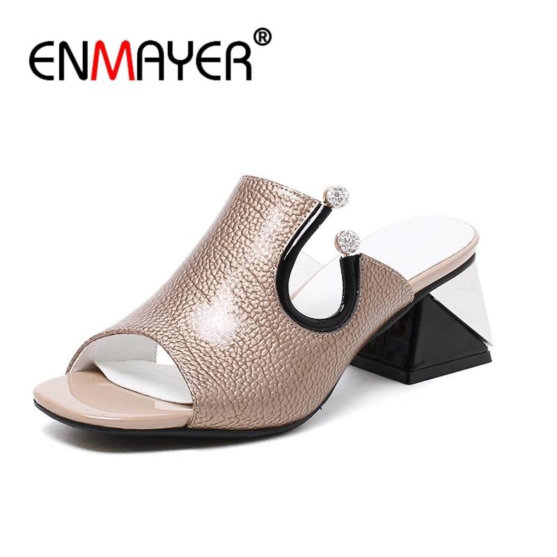 ENMAYER Genuine Leather Woman High Heels Sandals Summer Sandals Open Toe Causal Shoes Women Metal Decoration Strange heels CR723