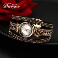 Duoya Women Dress Luxury Watch Women Gold Chain Rhinestone Leather Quartz Wristwatch Ladies Classic Fashion Bracelet