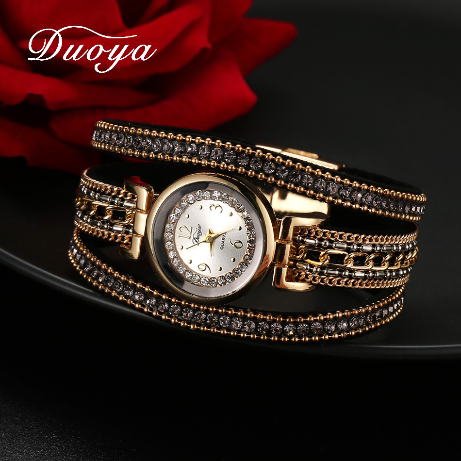 Duoya Women Dress Luxury Watch Women Gold Chain Rhinestone Leather Quartz Wristwatch Ladies Classic Fashion Bracelet Watch duoya fashion luxury women gold watches casual bracelet wristwatch fabric rhinestone strap quartz ladies wrist watch clock