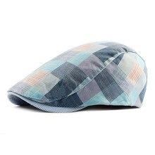 Шляпы весна-осень для мужчин повседневные клетчатые хлопковые береты кепки s Gorras Planas Boinas клетчатые плоские кепки регулируемые мужские береты