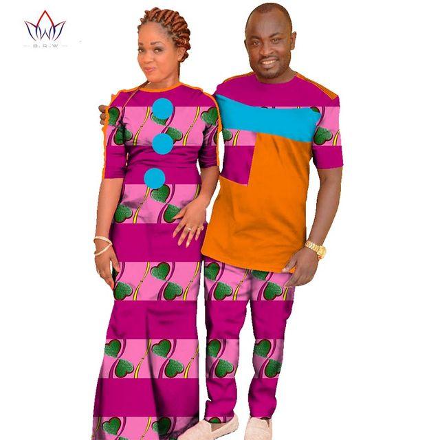 11226603824bc Automne robe africaine imprimé coton mode vêtements pour Couple femmes  africain imprimé robes 2 pièce ensemble